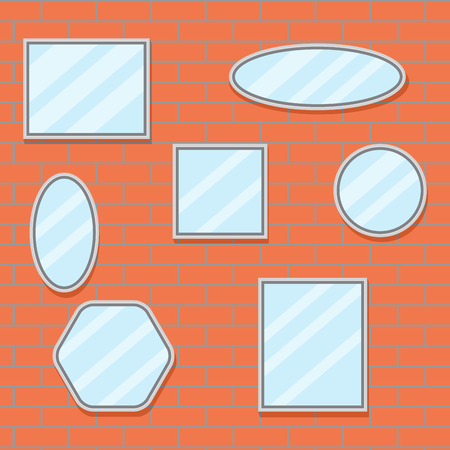 mirror frame: Mirror set design brick wall. Mirror frame border, mirror on wall, baroque mirror oval and mirror furniture. Vector flat design illustration