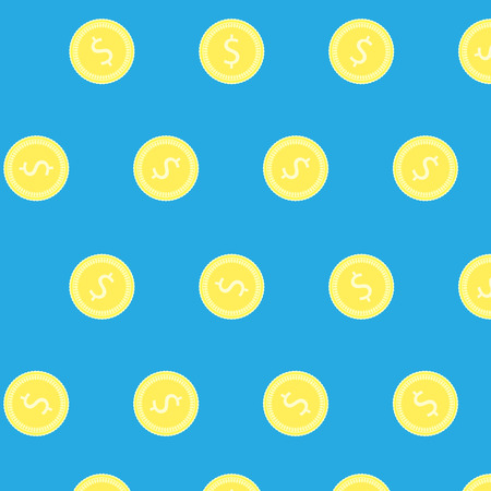 earning: Golden coin vector pattern. Banking earning and profit economic background. Vector flat design illustration