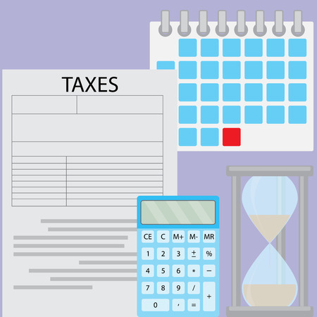 calculate: Tax day deadline. Document tax and time for pay and calculation tax, calendar data and counting calculate budget. Vector flat design illustration Illustration