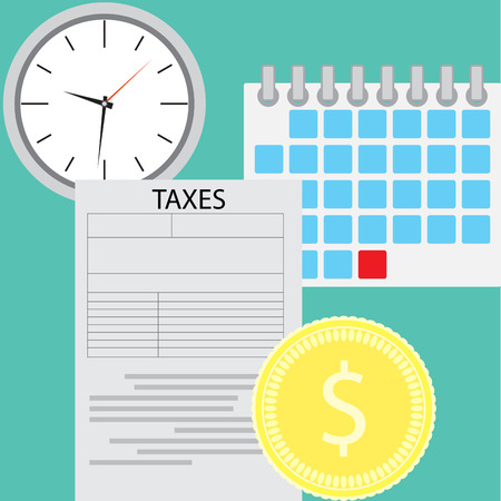 tax form: Tax day concept. Tax page and time deadline, tax form for government. Vector flat design illustration Illustration