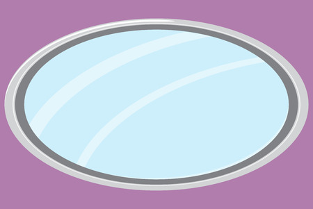 mirror frame: Mirror isolated oval form. Mirror furniture, oval mirror frame and fashion mirror. Vector flat design illustration Illustration