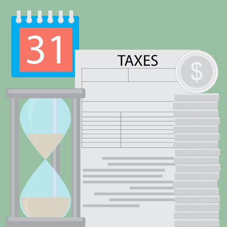 Tax payment time. Day finance time and money for tax economy. Vector flat design illustration