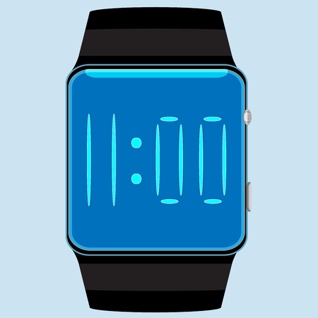 wristband: Smart watch isolated. Watch and clock screen, smart device for communication, smart gadget display, time wristwatch and wristband. Vector flat design illustration