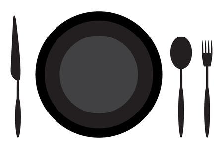etiquette: Dining etiquette plate spoon knife and fork. Restaurant dining table, set utensil for dinner. Vector flat design illustration