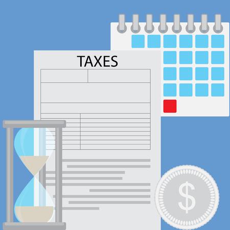 Business concept belasting dag. Deadline belasting dag betaling, de bedrijfsinvesteringen financiën, belastingen tellen, Vector platte ontwerp illustratie