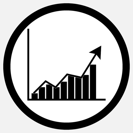 growth: Growth chart icon black white. Growth and growth concept,  chart and business growth, chart and graph growth statistic and business diagram symbol. Vector flat design illustration Illustration