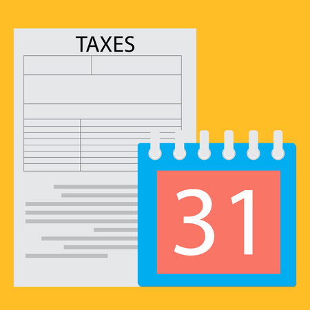 tax form: Deadline tax day. Page tax form and calendar day, government payment business. Vector flat design illustration Illustration
