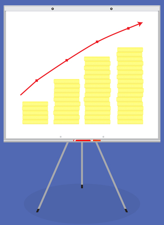 analyzing: Banner or poster gold coin up. Money rise and analyzing accounting. Vector flat design illustration Illustration