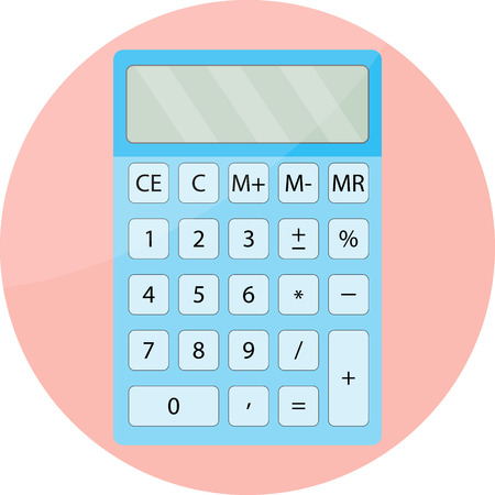 functions: Calculator icon isolated. Mathematical display calculator, financial functions and calculator gadget computer. Vector flat design illustration