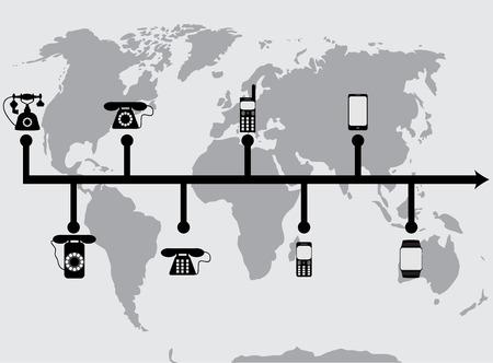 進化進歩電話。進行状況は、電話携帯と進化技術コミュニケーションを開発します。フラットなデザインのベクトル図  イラスト・ベクター素材