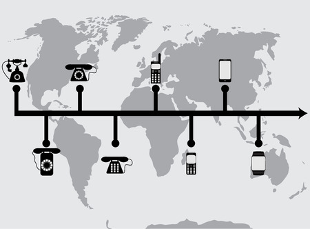 Evolution progress phones. Progress develop phone mobile and evolution technology communication. Vector flat design illustration