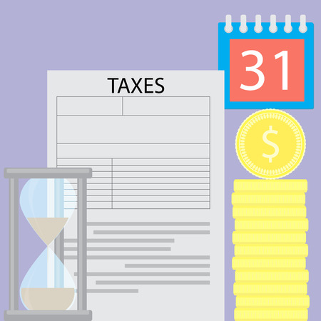 tax form: Tax day concept time is money. Tax and  tax refund, tax form and payday time, budget coin and hourglass. Vector flat design illustration