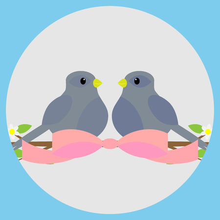 sweethearts: Sweethearts on a branch icon. Valentine and wedding,  valentines day and love couple, bird on branch and sweetheart love. Vector flat design illustration