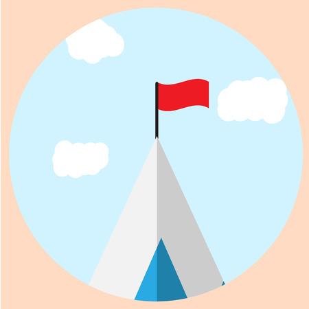 mountain view: Top of mountain with flag goal icon. Mountain climbing and  mountain peak, mountain top view and mountain landscape  top. Vector flat design illustration