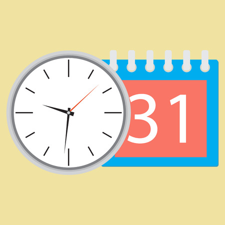 event planning: Time planning clock with calendar date. Plane and strategy,  business plan and plan icon, planning process business day and calendar time month event. Vector flat design illustration Illustration