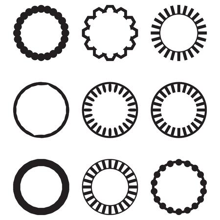 Cadre rond ensemble géométrique de cercle. Cadre de cercle et rond, cadre vintage rond et cadre vintage, rond et cercle emblème décoratif vintage. Illustration vectorielle de design plat
