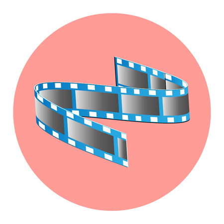 cinematography: Tape film icon. Reel film movie and video filmstrip for cinematography industry. Vector flat design illustration