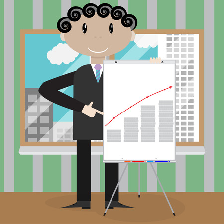 analyzing: Finance presentation growth profit money. Market analyzing earning and banner forecast plan presentation. Vector flat design illustration