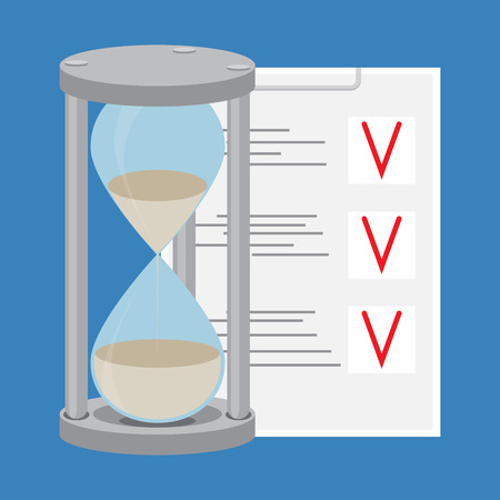 todo: Time management. To-do list and hourglass. Time is money and  clock, management time concept and project management. Vector flat design illustration Illustration