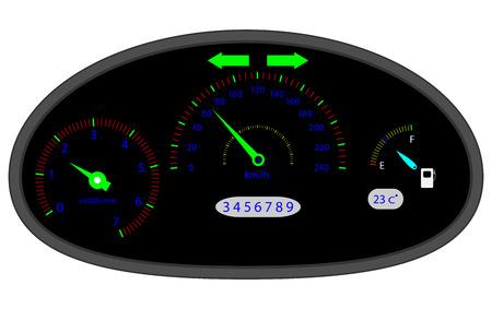metering: Car dashboard indicators. Dashboard icon and car dashboard,  speedometer and computer dashboard, acceleration measurement and speedometer panel. Vector flat design illustration Illustration