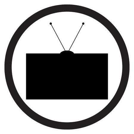 flat screen tv: Tv icon black white. Television and tv screen, watching tv and tv icon, old tv or retro tv. Tv electronic television screen and technology display equipment. Vector flat design illustration