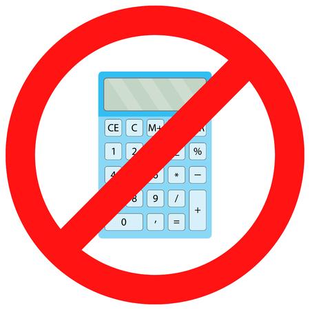 Ban calculator icon flat. Display digital and financial accounting.  Vector flat design illustration