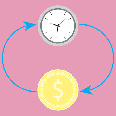 accumulation: Cycle time and money. Time business concept and work finance and clock, plan template idea. Vector flat design illustration