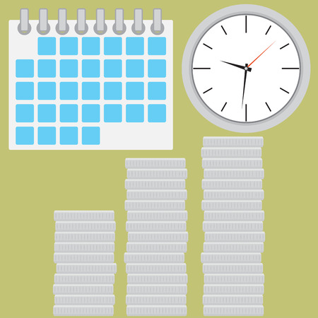 coin silver: Time is money. Coin silver stock with clock. Coin silver and clock time. Stock finance money investment in time. Vector flat design illustration