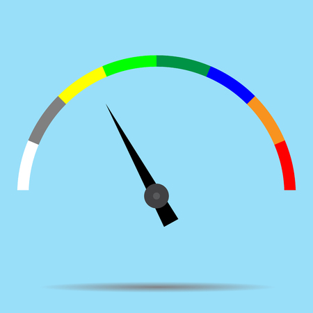 Indicator color spectrum barometer full vector. Index and pointer, arrow car indicator and measure. Vector flat design illustration Illustration
