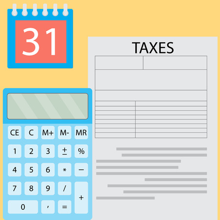 taxation: Calculation of tax day. Payday time, money payment and financial document tax, taxation deadline calculating. Vector flat design illustration Illustration