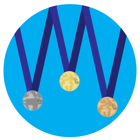 silver medal: Set of medals gold silver bronze icon. Trophy and gold medal,  award medallion and olympic medal, icon set medal award victory. Vector flat design illustration