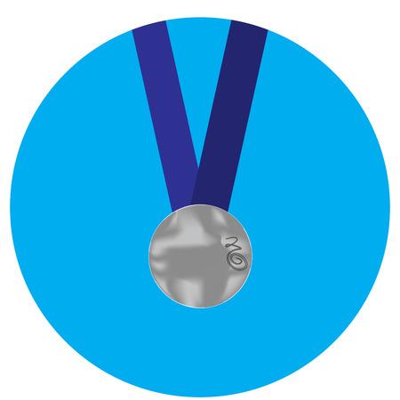 silver medal: Silver medal icon. Medal and silver metal, silver and medallion, award medal symbol and silver winner success. Vector flat design illustration