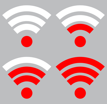 Wifi signal strength. Connection wireless and strength wifi signal internet, indicator level wifi. Vector flat design illustration Illustration