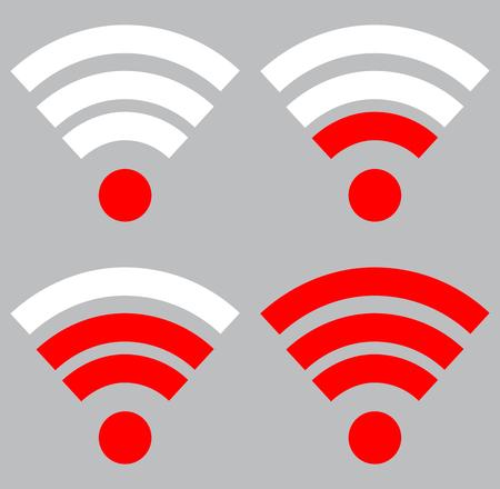 wireless signal: Wifi signal strength. Connection wireless and strength wifi signal internet, indicator level wifi. Vector flat design illustration Illustration