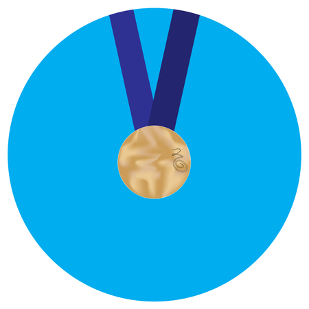 bronze medal: Icon bronze medal. Medal award symbol  and metal prize badge achievement. Vector flat design illustration