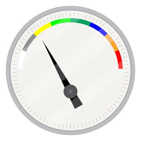 Spectrum Anzeigegerät. Index und Zeiger, Pfeilanzeige, messen Steuerungstechnik, Messspektrum und Power Panel Gerät. Vector flache Design, Illustration Vektorgrafik