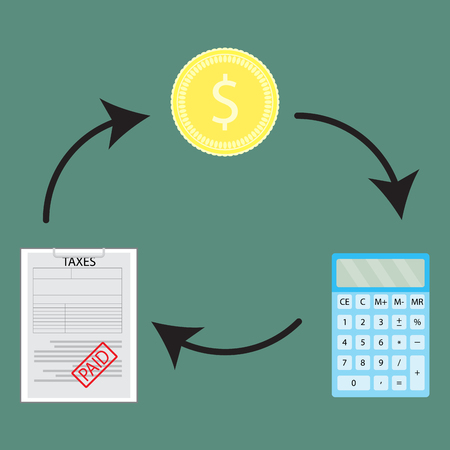 financial cycle: Cycle of money and account to pay taxes. Financial paper document, profit calculate money tax. Vector flat design illustration