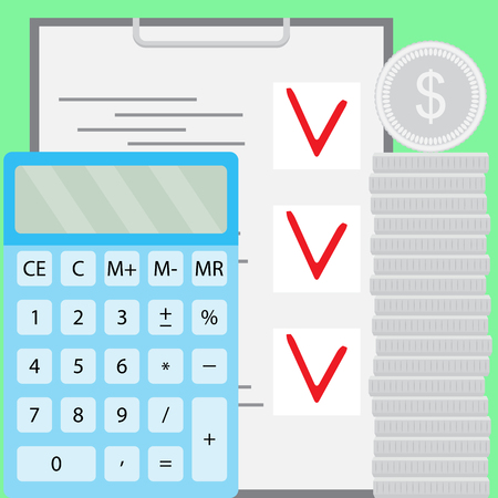 calculate: Budget and finance, financial savings. Business accounting income, calculate budget. Vector flat design illustration