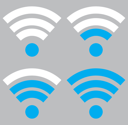 digital indicator: Indicator wifi communication set. Web router computing and telecommunications, maximum broadcast digital free and sharing. Vector flat design illustration