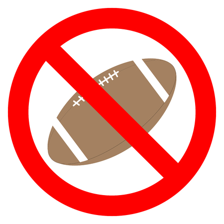 exclusion: Prohibition to play with the ball rugby. Rugby goal prohibition and ball sport ban. Vector flat design illustration