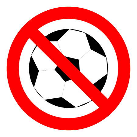 Prohibition to play with the ball football soccer. Stop game with ball, prohibition icon sport football or soccer, vector illustration