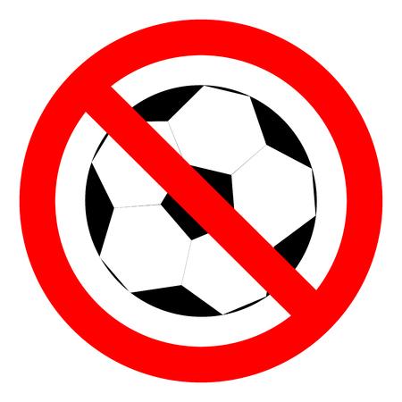 Verbot mit dem Ball Fußball, Fußball zu spielen. Stopp-Spiel mit Ball, Verbot Symbol Sport Fußball oder Fußball, Vektor-Illustration Vektorgrafik