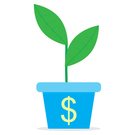 affluence: Growth of income. Sprout in a pot. Profit growth and income, investment finance, sprout plant in pot. Vector flat design illustration Illustration