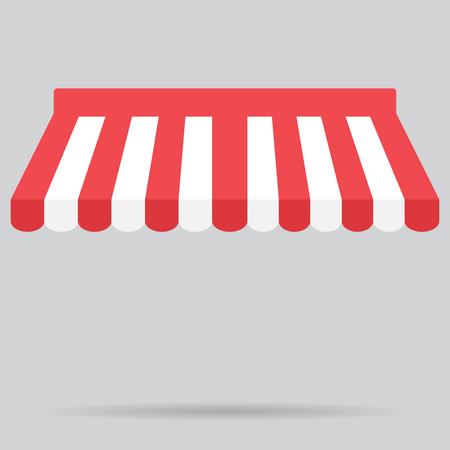 Zadaszenie markizy rozłożony sklepu element projektu. Zadaszenie i namiot, Markiza i przechowywania, element sklepu lub okna markizy. markizy sklepowe i namiot. ilustracji wektorowych