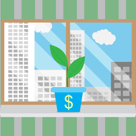 view window: Growth of business start-up in good conditions. Growth concept business and growing business, business success. Window frame and looking out window, city view window. Vector illustration Illustration