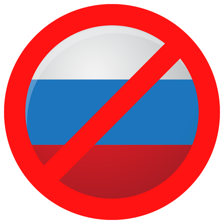 restriction: Russian ban icon isolated. Sanction and embargo, interdiction import, restriction and decision political, vector illustration Illustration