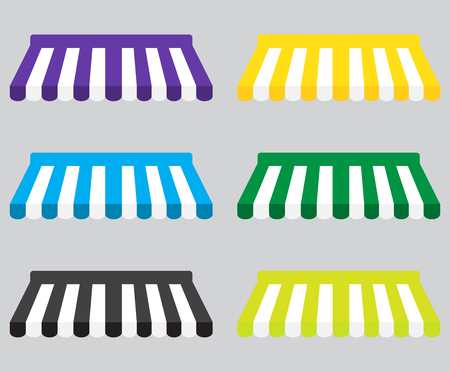 Awning color striped set for store element design. Set of canopy and tent, blind for store awning. Window awning and shop awning, vector illustration