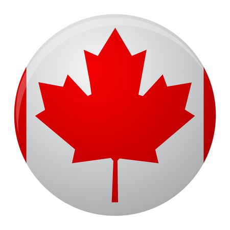 canada country: Canada flag icon flat. Symbol of canada country and vector sign nation canadian illustration