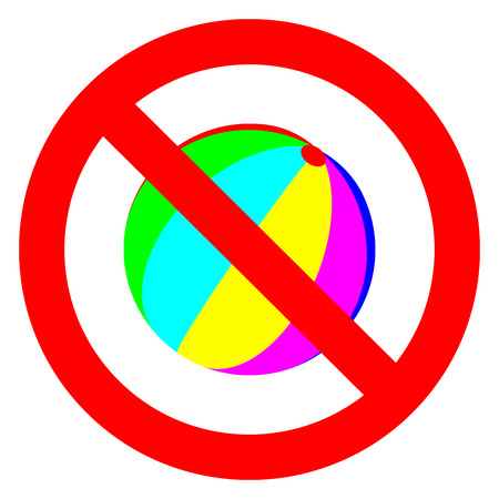 banning: Banning sign. Colorful children ball crossed. You cannot playing. Vector illustration