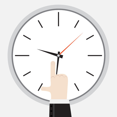 punctuality: Finger showing on the clock. Punctuality and showing late deadline, vector illustration